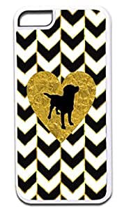 Black and White Gold PRINT Gilded Chevrons-Gold Foil PRINT Heart-Puppy Silhouette- Case for the APPLE iphone 5c ONLY!!! NOT COMPATIBLE WITH THE iphone 5c!!!-Hard White Plastic Outer Case with Tough Black Rubber Lining