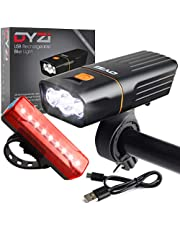 DYZI USB Rechargeable Bike Lights Set -Waterproof Front Headlight & Tail Light Easy to Fit & Mount, Built in Powerbank for Charging Devices