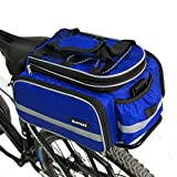 Sports Outdoors Best Deals - Bike Backpacks, Bags & Panniers ›,Bike Frame Bags Outdoor Sports Cycling Bicycle Bike Black Rear Seat Rack Trunk bag for men women and kid in convenient to travel to travel(blue)
