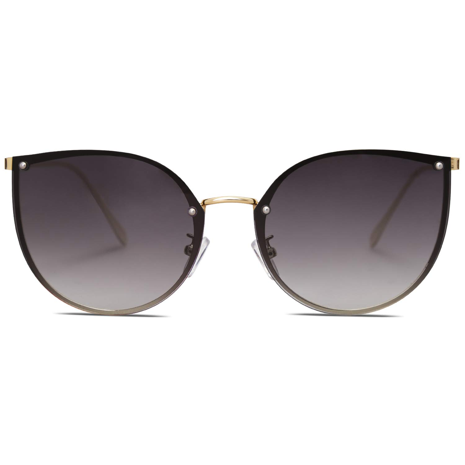 SOJOS Cat Eye Round Sunglasses for Women Metal Frame UV400 Lens SJ1119 with Gold Frame/Gradient Grey Lens by SOJOS