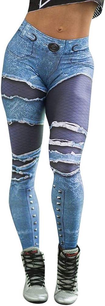Pantalones Yoga Mujeres Estampado de Mezclilla,Mallas pantalón ...
