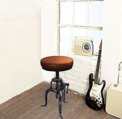 Height Adjustable Antique Industrial Crank Stools American Cast Iron Three-legged  Chair Seat Swivel Bar - Amazon.com: Height Adjustable Antique Industrial Crank Stools