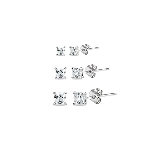 e193fe820 Amazon.com: 3 Pair Set Sterling Silver Cubic Zirconia Princess-Cut Square Stud  Earrings, 2mm 3mm 4mm: Jewelry
