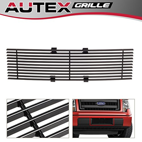 - AUTEX F66789H Black Powder Coated Aluminum Horizontal Billet Lower Bumper Grille Insert Compatible With 2009 2010 2011 2012 2013 2014 Ford F150 Lower Grill Insert