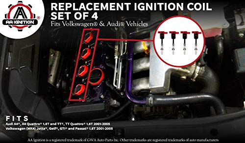 Ignition Coil Pack Set of 4-1 8T Replaces 06C905115M Fits - Import It All