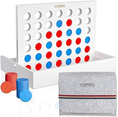 YESMARKS Wooden 4 in a Row Game – Connect 4 Game Portable Tic Tac Toe Tabletop Board Set for Family Picnic, Camping, Party, Travel – 42 Red and Blue Toy Chips – Storage and Carrying Bag