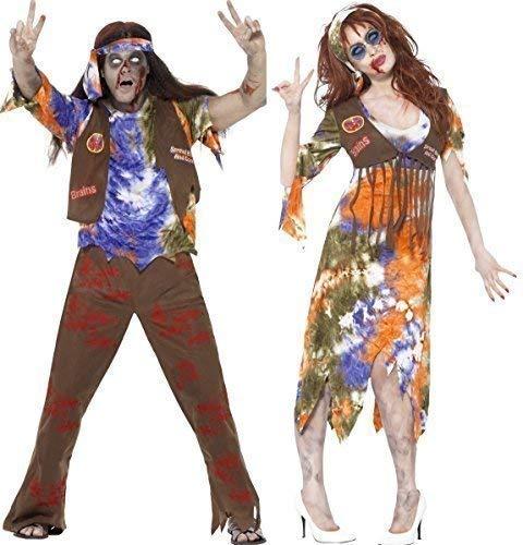 Fancy Me Paar Herren & Damen Zombie Hippie 60s Jahre 1960s Jahre Halloween Kostüm Verkleidung Outfit - Mehrfarbig, Ladies UK 8-10 & Mens Medium B014SS8254 Kostüme für Erwachsene In hohem Grade geschätzt und weit Grünrautes herein und heraus       Sho