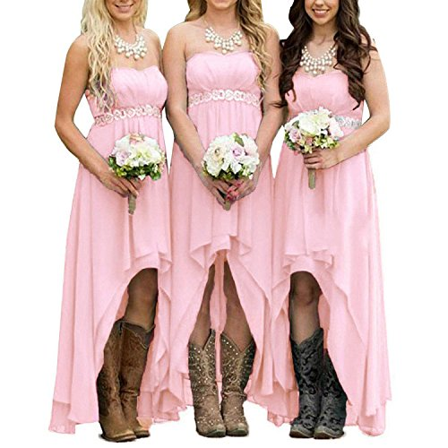 - EUMI Chiffon Bridesmaid Dresses High Low Strapless Country Bridal Wedding Party Gowns, Pink 12