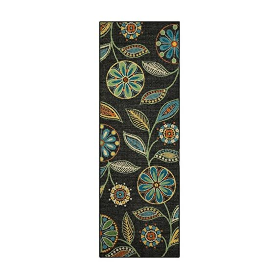 Maples Rugs Reggie Floral Runner Rug Non Slip Hallway Entry Carpet [Made in USA], Multi, 2 x 6 - 2 x 6 Hallway Runner Rug - Features a Modern Twist on a bold floral pattern. Vibrant hues of multi-colors on a dark background creates a high contrast, eye-catching artwork on the floor Timeless Design with 100% Nylon Pile for Added Durability and Fade Resistance 0.44 Inch Pile Height, Low Profile to be Placed in Any Setting. Easy Care and Machine Washable - runner-rugs, entryway-furniture-decor, entryway-laundry-room - 51d47d6jU2L. SS570  -