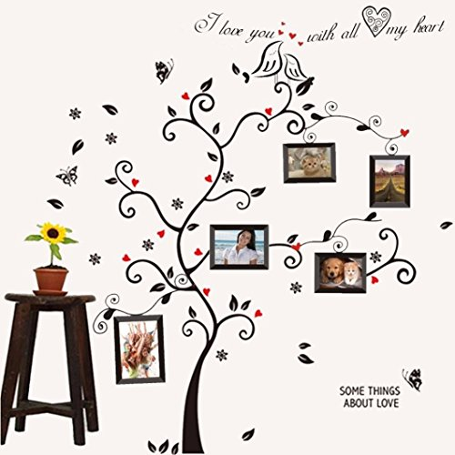 Hatop Kiss Birds Trees Hearts Leaves Black Photo Picture Frame Decal Removable Wall Decals Large Wall Stickers Love Quotes & Decorative Wall Sticker