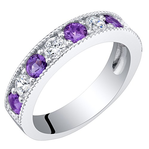 - Sterling Silver Amethyst Milgrain Half Eternity Ring Band Size 5