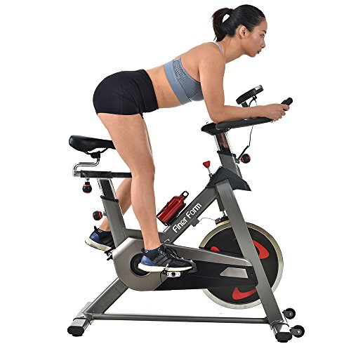 Finer Form Gym-Quality Indoor Bike with LCD Monitor and Cellphone Placement, Space Grey, 40LB Flywheel Finer Form Fitness