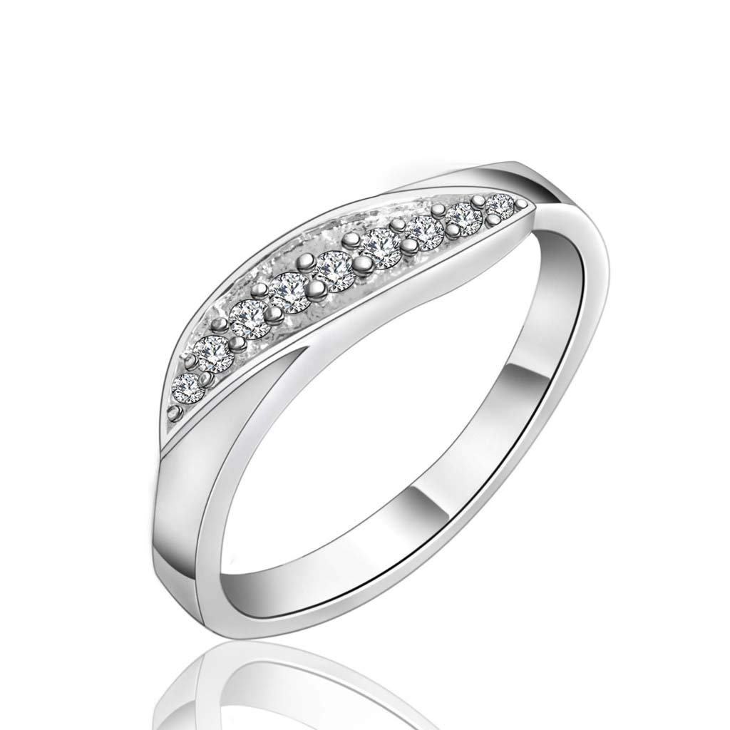 Tender Diamond Ring Elegant Lady Simple Jewelry Plated 925 Silver Ring Unisex (Size : 7) by Liu Weiqin