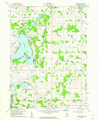 YellowMaps California MI topo map, 1:24000 Scale, 7.5 X 7.5 Minute, Historical, 1960, Updated 1962, 26.9 x 22 in - Paper