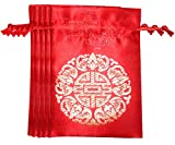 Lucore 5 Fortune Red Brocade Pouches - 5 PC Set of Chinese Silk Style Good Luck Fortune Gift Bags