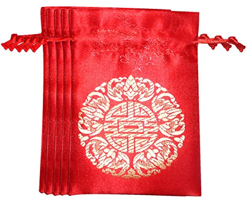 Yellow Chinese Coin Set - Lucore 5 Fortune Red Brocade Pouches - 5 PC Set of Chinese Silk Style Good Luck Fortune Gift Bags