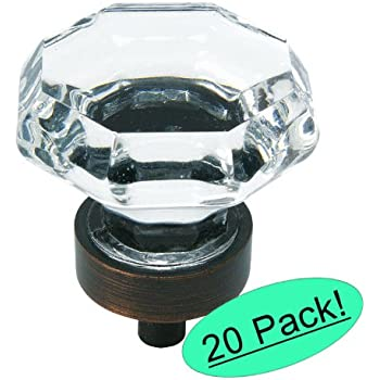 """Cosmas 5268ORB-C Oil Rubbed Bronze Cabinet Hardware Knob with Clear Glass - 1-5/16"""" Diameter - 20 Pack"""
