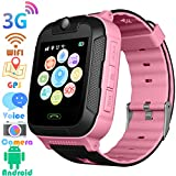 "3G Kids Smart Watches GPS Tracker - Kids Android Smart Watch Phone for Boys Girls with 1.4"" Touch Screen Fitness Tracker Phone Camera Video Recorder Flashlight Compatible at&T/T-Mobile (Pink)"