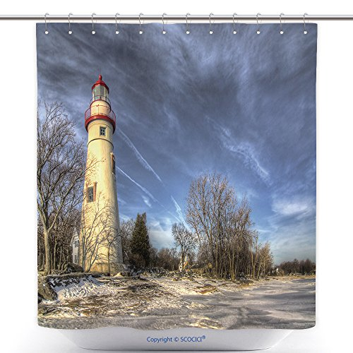 vanfan Cool Shower Curtains The Historic Marblehead Lighthouse In Northwest Ohio Sits Along The Rocky Shores Of Lake Erie Seen Polyester Bathroom Shower Curtain Set With Hooks(36 x 72 ()