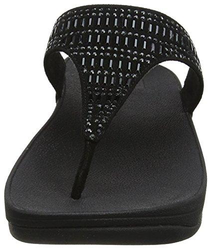 Sandals 1 thong Fitflop Toe Incastone black Femme Noir n87TAnZwxq