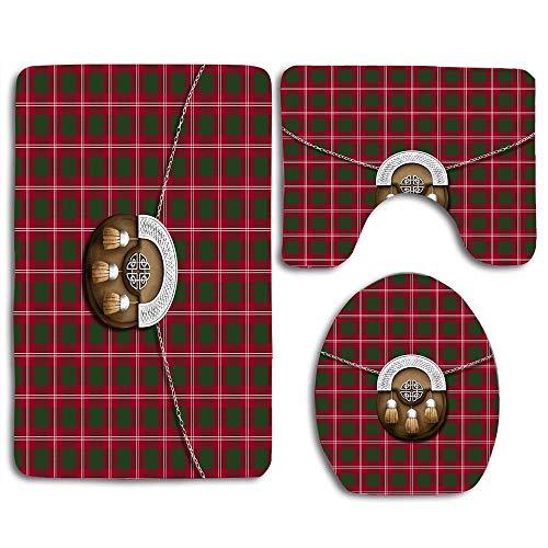 Clan Crawford Tartan and Sporran Beautiful Toilet Lid Cover Wood Soft Comfort Washroom Mats,Non-Slip Absorbent Toilet Seat Cover Bath Mat Lid Cover,3pcs/Set ()