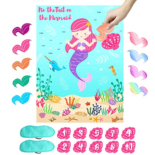 (OurWarm Pin the Tail on the Mermaid Party Game, Under The Sea Party Games for Kids Mermaid Birthday Party Supplies, Include 36 Reusable Tails and 2 Eye)
