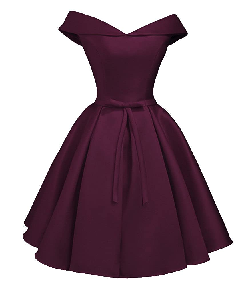 Dark Purple Dressylady 2017 Simple A Line Off Shoulder Homecoming Dress Short Prom Bridesmaid