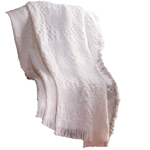 Manual 46 X 60-Inch Basketweave Heart 2-Layer Cotton Throw Blanket, White ()