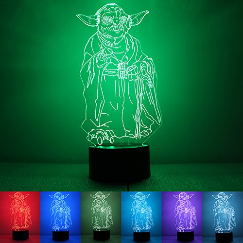 MEINI Night Lamp Projection Lights 3D Illusion Touch Control 7 Colors Change USB Charger For Kids Christmas Gifts (Master Yoda)