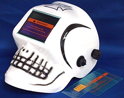 Solar Auto Darkening Welding Helmet , White-Skull design