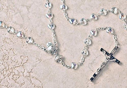 First Holy Communion Silver Heart Shaped Aurora Borealis Bead Rosary. (Aurora Borealis Crystal Rosary Beads)