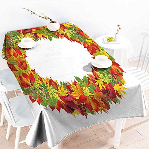 Onefzc Large Rectangular Tablecloth,Letter O Autumn Season Inspired Uppercase O in Various Tones with Summer and Spring Leaves,Table Cover for Dining,W52x70L Multicolor
