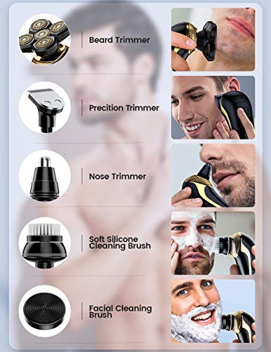 Everfun Electric Razor for Men Bald Head Shavers 5 in 1 Grooming Kit Cordless Rechargeable Beard Trimmer Nose Hair Clippers Shaving Kit Waterproof Rotary Shaver LED Display