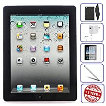 Apple iPad 4 16GB - WiFi, Black 4th Generation | Bundle Includes: Case, Tempered Glass, Stylus Pen, 1 Year Warranty (16, Black) (Refurbished)