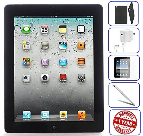 Apple iPad 2 Tablet 16GB, 32GB, 64GB - Wifi, Black 2nd Generation | Bundle Includes: Case, Tempered Glass, Stylus Pen, 1 Year Warranty (16GB, Black) (Renewed)