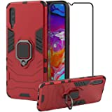 2ndSpring Case for Samsung Galaxy A70 + Tempered Glass Screen Protector,Hybrid Heavy Duty Protection Shockproof Defender Kickstand Armor Case Cover,Red
