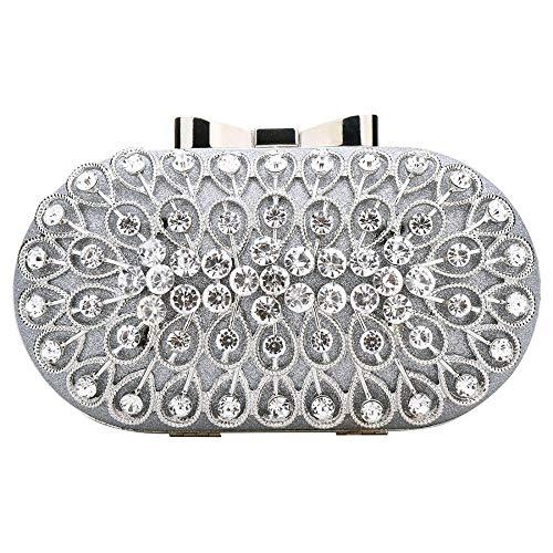 Bridal Party Clutch Prom Womens Purse Evening Bag Wedding Bag Silver Crystal Handbag wRnRYTqz7