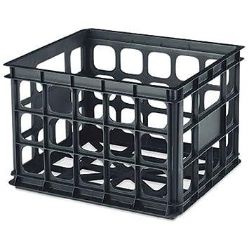Sterilite Plastic Storage Crate, Black Part 34