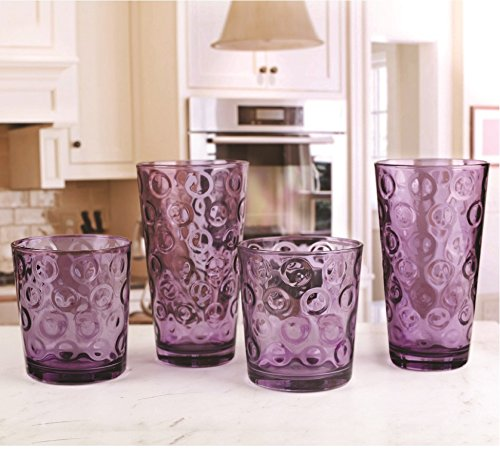 Circleware 44806 Circles Plum Huge Set of 16 Drinking 17 oz. and 8-13 oz. Double Old Fashioned Whiskey Juice Water Beer Beverage Glass, 16pc Set by Circleware (Image #2)