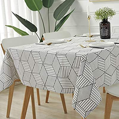 """SESTYLE Rectangle Tablecloth Geometric Style Cotton Linen Table Cloth Dust-Proof Table Cover for Kitchen Dinning Tabletop Decoration (Rectangle/Oblong, 52"""" x 90"""" (6-8 Seats), White) - Premium Quality Tablecloth: Manufactured from super, hard wearing cotton linen fabric, won't easily fray after long term use; an inherent quality of natural, handcrafted linen pieces, which only add to their beauty. Versatile Table Protector: This rectangular tablecloth is reminiscent of casual dining and perfect for everyday meals with the family, parties, birthdays or special holiday gatherings, indoor and outdoor use, weddings and more. Decoration Your Home: Add flowers, candles or a seasonal centerpiece to tables cape. and keep dust off and protect your table,tablecloth and furniture tops against scratches, scuffs, stains while still show the beauty of your table and furniture tops. - tablecloths, kitchen-dining-room-table-linens, kitchen-dining-room - 51d4AQaIG6L. SS400  -"""
