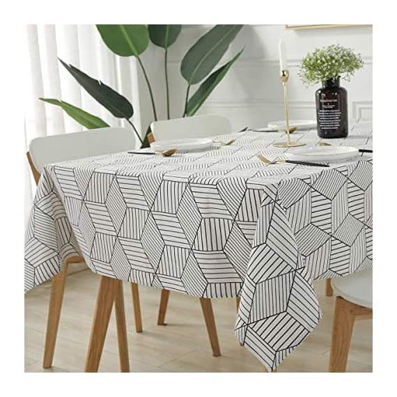 "SESTYLE Rectangle Tablecloth Geometric Style Cotton Linen Table Cloth Dust-Proof Table Cover for Kitchen Dinning Tabletop Decoration (Rectangle/Oblong, 52"" x 90"" (6-8 Seats), White) - Premium Quality Tablecloth: Manufactured from super, hard wearing cotton linen fabric, won't easily fray after long term use; an inherent quality of natural, handcrafted linen pieces, which only add to their beauty. Versatile Table Protector: This rectangular tablecloth is reminiscent of casual dining and perfect for everyday meals with the family, parties, birthdays or special holiday gatherings, indoor and outdoor use, weddings and more. Decoration Your Home: Add flowers, candles or a seasonal centerpiece to tables cape. and keep dust off and protect your table,tablecloth and furniture tops against scratches, scuffs, stains while still show the beauty of your table and furniture tops. - tablecloths, kitchen-dining-room-table-linens, kitchen-dining-room - 51d4AQaIG6L. SS570  -"