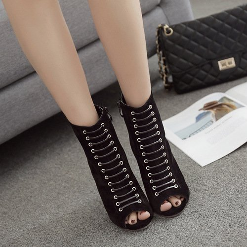 Cross-train octopus nozzle side zipper boots fine with cold boots high-heeled shoes female boots Black wGNdne