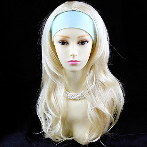 Pale Blonde Long 3/4 Wig Fall Hairpiece Wavy Layered Hair - Hairpiece Fall