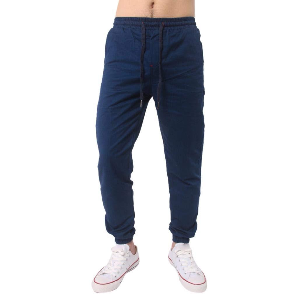Realdo Clearance, Men Trousers Solid Sweatpants Slacks Casual Elastic Waist Jogger Pant Comfy (Large,Dark Blue)