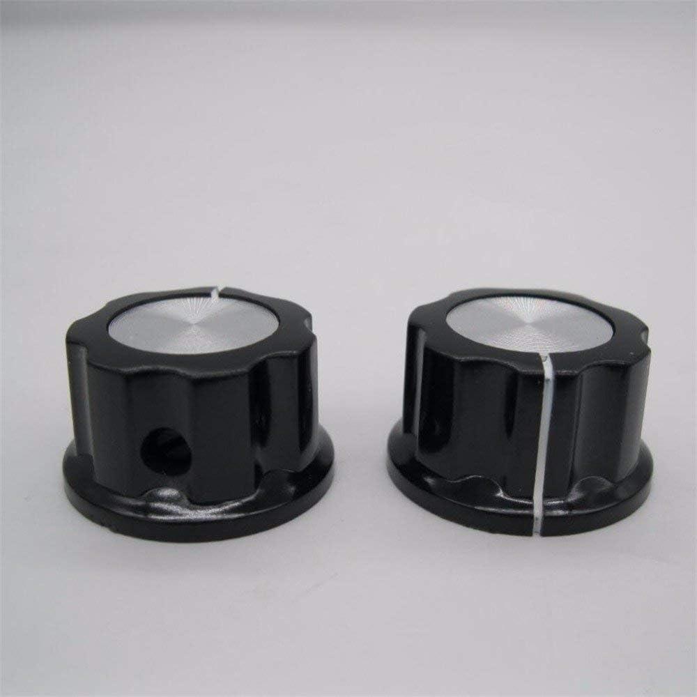 Taiss Lot de 10 boutons rotatifs argent/és pour potentiom/ètre 3590s de 6,4 mm de diam/ètre Diam/ètre 23 mm Noir A03-6,4 mm