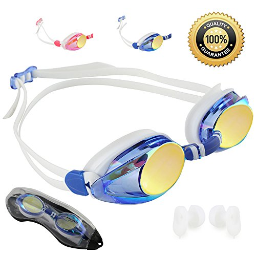 Abstract goggles (Soft Blue/Mirrored Lens/double head (Princess Swimming Goggles)
