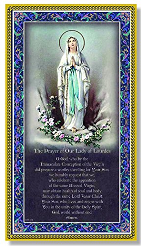 OUR LADY OF LOURDES Fine Art Italian Plaque With Prayer 5