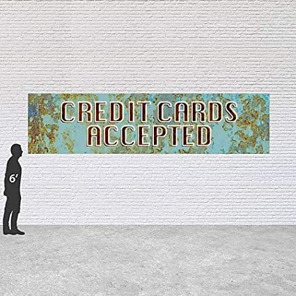Credit Cards Accepted CGSignLab Ghost Aged Blue Heavy-Duty Outdoor Vinyl Banner 16x4