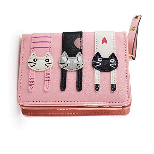 Girl's Short Cute Cat Purse, Buckle Zipper Cartoon Wallet, Small Clutch Handbag