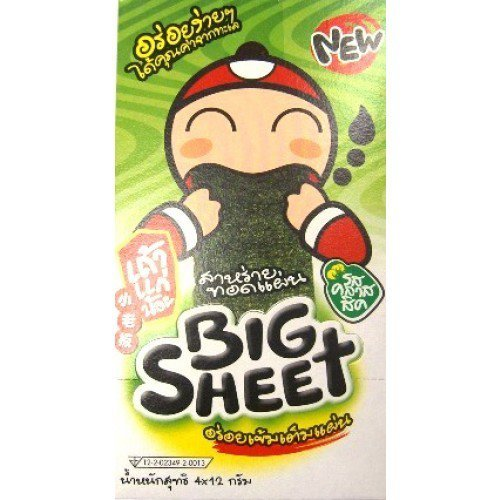 Tao Kae Noi Seaweed snack Big sheet (Original) 3.5 g Pack 12